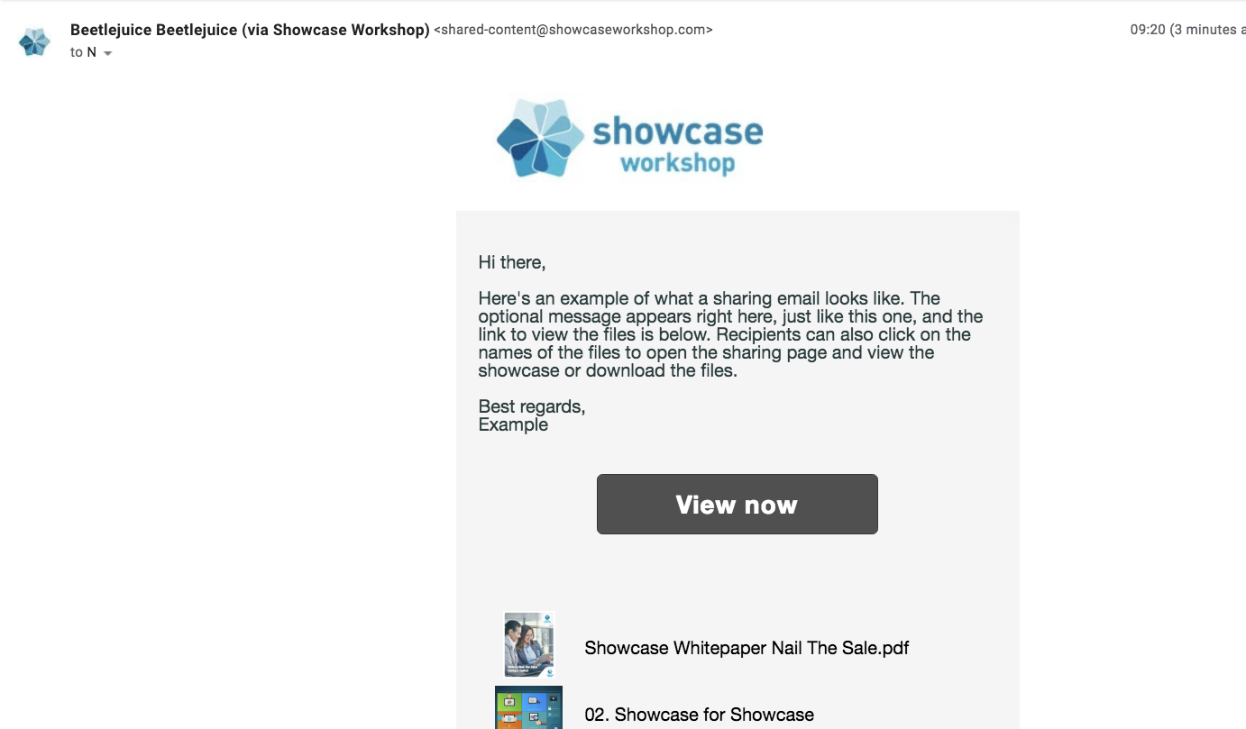 The file sharing email that your recipient gets from Showcase looks a lot like this one.